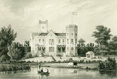 Historische Ansicht der Slomannburg in Hamburg Harvestehude, Doppelvilla - errichtet 1848, Architekt Jean David Jollasse.