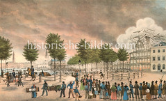 Blick auf den Jungfernstieg während des Hamburger Brandes 1842 - es wurde versucht durch Sprengungen den Brand aufzuhalten.