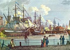 Alte Ansicht vom Hamburger Niederhafen um 1820 - re. das Baumhaus, bei dem Abend der Hafen mit Baumstämmen abgesperrt wurde.