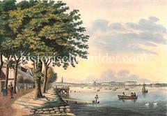 Blick vom Ufer der Aussenalster bei St. Georg zur Hamburger Innenstadt, ca. 1830.