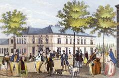 Altes Bild vom Urania-Theater am Spielbudenplatz in St. Pauli, ca. 1846; das Theater wurde 1841 gegründet und wurde später das St. Pauli Theater. Bürger wandeln mit ihren Frauen auf der Straße, Hunde begleiten Sie.