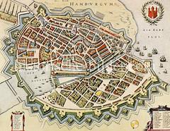 Historische Karte der Hansestadt Hamburg von 1643 - Blick auf die Hamburger Stadtbefestigung und den Hafen.