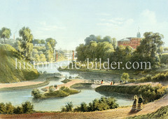 Blick über den Elbpark um 1870, die ehem. Stadtbefestigung der Hansestadt Hamburg - im Hintergrund Schiffsmasten auf der Elbe.