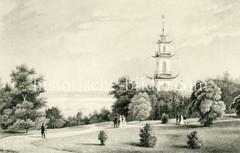 Alter Stich vom Baurs Park in Hamburg Blankenese. Der Hamburger Kaufmann ließ durch den Architekten und Landschaftsgärtner Joseph Ramée von 1817 bis 1832 einen  romantischen Landschaftspark im englischen Stil gestalten.