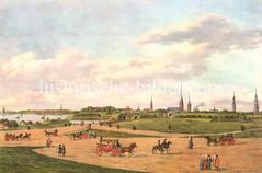 Historische Ansicht vom Hamburger Umland - Blick auf das Dammtor und die Kirchtürme der Stadt, ca. 1700; Pferdewagen, Kutschen, Reiter  und Fußgänger auf der unbefestigten Straße.