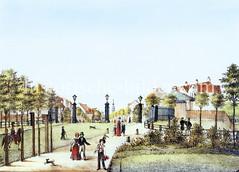 Colorierte Darstellung vom Berliner Tor - Durchlass in der Hamburger Stadtbefestigung um 1835; Blick Richtung St. Georg.
