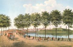 Historische Ansicht von der Hamburger Stadtbefestigung um 1700, Blick auf das Deichtor und das Hamburger Panorama.