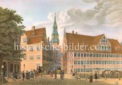 Blick über die Mühlenbrücke zur Hamburger Hauptkirche St. Nikolai, ca. 1835.