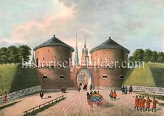 Alte Ansicht vom Hamburger Steintor, ca. 1600 - Teil der Stadtbefestigung, dahinter Kirchtürme der Hansestadt.