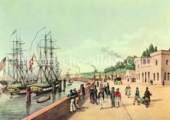 Altes Motiv vom Hamburger Hafentor und der Hafenpromenade am Niederhafen; Segelschiffe liegen an den Dalben.