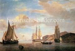 Schiffe, Frachtsegler auf der Elbe vor Hamburg Blankenese, ca. 1842.
