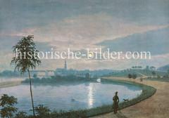 Nacht mit Vollmond an der Hamburger Alster - Blick über die Aussenalster Richtung St. Georg, ca. 1836.