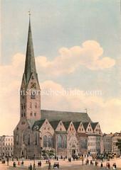 Historische Ansicht der Hamburger St. Petrikirche, ca. 1840.