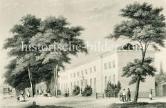 Brunnen- und Badeanstalt mit Konversationshaus in Hamburg Eppendorf, eröffnet 1825 .