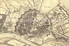 Historische Karte der Hansestadt Hamburg vor dem Großen Brand 1842; Blick auf die Hamburger Altstadt und die alten Hafenanlagen.