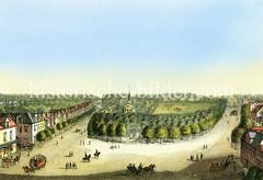 Historische Panorama-Ansicht von Wandsbek; Blick über den Wandsbeker Markt zur Christuskirche, ca. 1865.