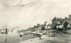 Historische Ansicht der Elbe bei Hamburg Nienstedten - Segelschiffe, Dampfer und Ruderboote auf dem Fluss - Spaziergänger am Strand. Am Elbhang liegt die Schillerburg,  neugotisches Landhaus - errichtet um 1845, Entwurf George Gilles.