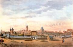 Blick vom Kehrwieder über die Brooksbrücke zur Stadtbefestigung und den Kirchtürmen Hamburgs, ca. 1590.