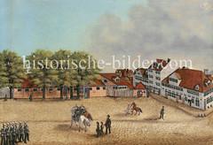 Historische Ansicht Hamburgs - Hamburgensie vom Dragonerstall am Valentinskamp in der Hamburger Neustadt, ca. 1855.