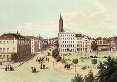 Blick in die Steinstraße um 1846; re. der Schweinemarkt, im Hintergrund der Kirchturm der St. Jacobi-Kirche.