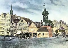 Coloriertes Bild von der St. Annen Kapelle im Areal der späteren Speicherstadt.
