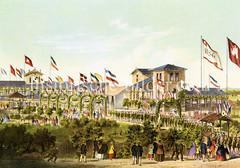 Colorierte Ansicht vom Barmbeker Schützenhof in der Nähe der Hamburger Straße ca. 186.