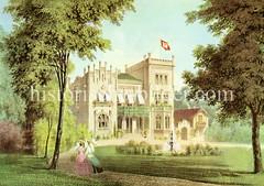 Landhaus Dill am Grindelhof in Hamburg Rotherbaum, ca. 1862; Gartenanlage mit Springbrunnen.