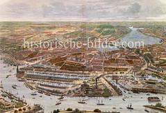 Historische Ansicht - Hansestadt Hamburg aus der Luft, ca. 1880 - Blick auf den Grasbrookhafen, Sandtorhafen und Magdeburger Hafen - Im Hintergrund die Hamburger Altstadt / Neustadt und Alster.