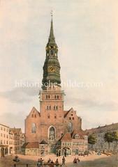 Historische Ansicht der Hamburger Sankt Nikolaikirche um 1835.