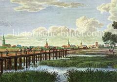 Historische Ansicht der ehem. sogenannten Franzosenbrücke über die Elbe. Die Brücke entstand während der französischen Besatzung Hamburgs 1813/14. Die vier Kilometer lange Brücke wurde dann an der Elbe durch Ziehfähren ergänzt.