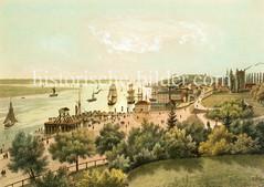 Blick von der Elbhöhe / Stintfang um 1845 zur Elbe und Elbufer bei den jetzigen St. Pauli Landungsbrücken.