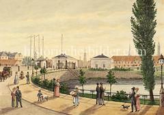 Alte Ansicht vom Deichtor in Hamburg - im Hintergrund Türme der Hansestadt; lks. Schiffsmasten vom Oberhafen.