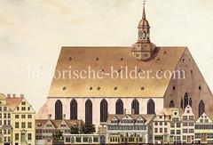 Blick auf die Johanniskirche  in der Nähe des jetzigen Rathausmarktes. (1820)