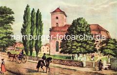 Historisches Motiv der Christianskirche, ca. 1835. Ein Paar sitzt in einer leichten Pferdedroschke; ein Reiter mit Zylinder reitet Richtung Palmaille. Unter der Linde ist das eingezäunte Grab Klopstocks zu erkennen.
