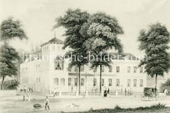 Dr. Langgaard`s Orthopädisches Institut am Rande von Hamburg in Altona, errichtet um 1834. Körperverformungen wie Buckel wurde mit Eisenstangen versehenen Schnürleibchen behandelt.