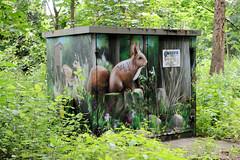Aumühle ist eine Gemeinde im Kreis Herzogtum Lauenburg in Schleswig-Holstein und gehört zur Metropolregion Hamburg, mit Naturbild versehener Verteilerkasten.