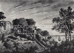 Altes Bild der Rainvilleterrasse. Etablissement Rainville mit Blick auf die Elbe - Segelschiffe liegen am Ufer. Auf den Wegen am Elbhang lustwandeln Herren mit ihren Damen zwischen den Bäumen mit Blick auf die Elbe. Segelschiffe und ein Dampfer fah