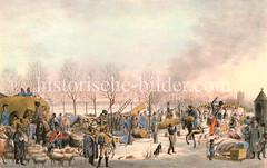 Blick auf den Hamburger Jungfernstieg während der Belagerungszeit Winter 1813.