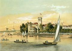 Alte Ansicht vom Uhlenhorster Fährhaus um 1875 - Segelboote und Ruderboote fahren auf der Aussenalster.