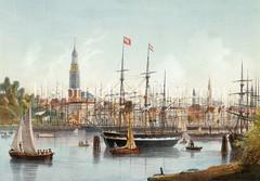 Historische Ansicht von der Elbe bei Hamburg - Blick zum Jonashafen / Niederhafen und der Hamburger Neustadt / Altstadt -  Segelschiffe + Ruderboot auf dem Wasser, im Hintergrund Kirchtürme der Hansestadt.