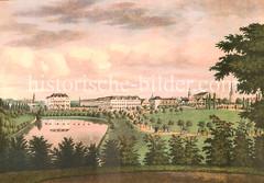 Alte Darstellung vom Hamburger Botanischen Garten, den ehem. Wallanlagen  Hamburgs - im Hintergrund die Esplanade.