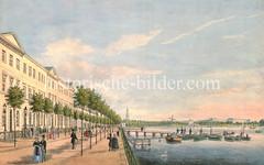 Promenade an der Aussenalster bei St. Georg um 1840 - Ruderboote liegen an einem Steg; im Hintergrund der Kirchturm der St. Michaeliskirche und die Windmühle an der Lombardsbrücke.