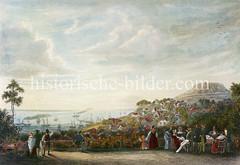 Blick von Sagebiehls Fährhaus auf die Elbe und Hamburg Blankenese, ca. 1835.