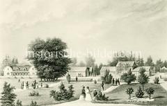 Historischer Ansicht von Booths-Garten in Hamburg Flottbek. John Richmond Booth war ein Pflanzenzüchter und Besitzer einer Baumschule. Booth legte den Grundstein für die große Dichte an Baumschulbetrieben insbesondere in Rellingen und Halstenbek.