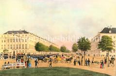 Alte Ansicht von der Hamburger Esplanade in der Hamburger Neustadt um 1850.