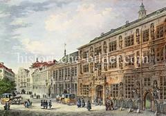 Blick auf das alte Hamburger Rathaus bei der Trostbrücke; errichtet um 1290.