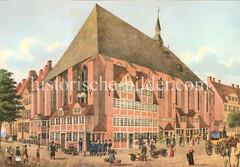 Historische Ansicht der Heiligen-Geist-Kirche  in der Nähe Rödingsmarkt, ca. 1828.