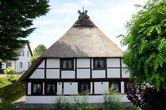 Neuengamme  ist ein Hamburger Stadtteil im Elbmarsch-Gebiet der Vierlande im Bezirk Bergedorf. Historische Fachwerkkate mit Reetdach am Neuengammer Hausdeich - das unter Denkmalschutz stehende Wohnhaus wurde um 1734 errichtet.