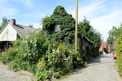 Neuengamme  ist ein Hamburger Stadtteil im Elbmarsch-Gebiet der Vierlande im Bezirk Bergedorf. Mit Kletterpflanzen zugewachsenes Wohnhaus in der Straße Achter de Wisch.