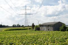 Fotos aus dem Hamburger Stadtteil Ochensenwerder, Bezirk Bergedorf. Hochspannungsleitung - Holzschuppen und Felder am Ochsenwerder Norderdeich - im Hintergrund Windkraftanlagen / Windräder.